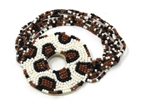 Brown, White & Black Tri-Color Snake Skin Pattern Round Seed Bead Stretch Bracelet