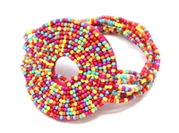 Colorful Multi-Colored Rainbow Pattern Round Seed Bead Stretch Bracelet