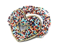 Colorful Multi-Colored Rainbow Pattern with Gold Seed Bead Outline Round Seed Bead Stretch Bracelet