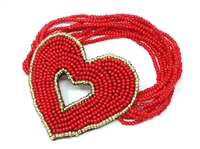 Bright Red with Gold Seed Bead Outline Round Seed Bead Stretch Bracelet