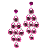 Good-Looking Sparkling Pink & Fuchsia Crystals Teardrop Silver Toned Stud Dangle Earrings