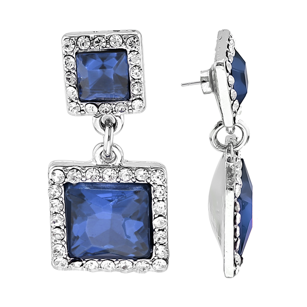 Stunning Sparkling Clear Crystal Navy Blue Squared Stone Silver-Toned Stud Earrings