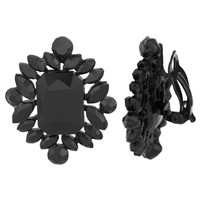 Gorgeous Sparkling Black Stone Clip-On Earrings