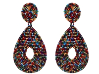 Dark Multi-Colored Tear Drop Seed Bead Dangle Stud Earrings