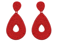 Bright Red Tear Drop Seed Bead Dangle Stud Earrings