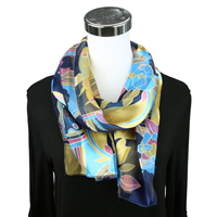 Blue Floral Print Scarf