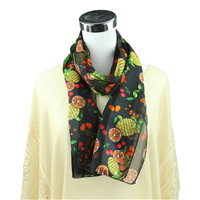 Colorful Fruit Mix Print Black Silk Scarf