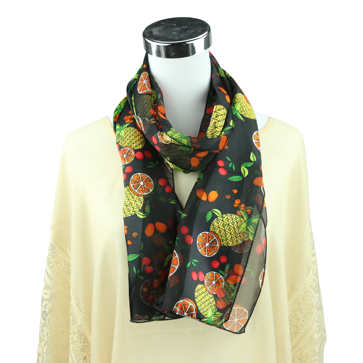 Women S Colorful Fruit Mix Print Black Silk Scarf