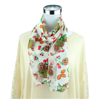 Colorful Fruit Mix Print White Silk Scarf