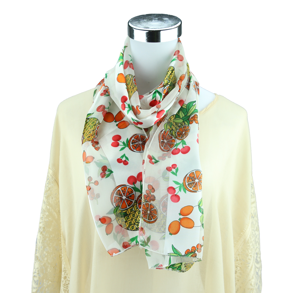 Women S Colorful Fruit Mix Print White Silk Scarf