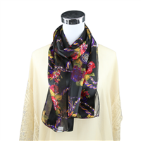 Colorful Floral Pocket Watch Print Black Silk Scarf