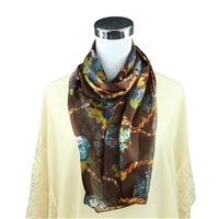 Colorful Floral Pocket Watch Print Brown Silk Scarf