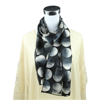 Chic White Gradient Circle Print Black Silk Scarf