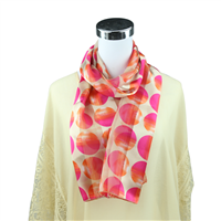 Chic Pink Gradient Circle Print Ivory Silk Scarf