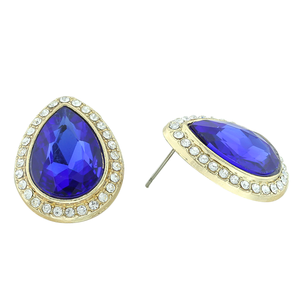 Stunning Sparkling Teardrop Crystal Sapphire Stone Gold-Toned Stud Earrings