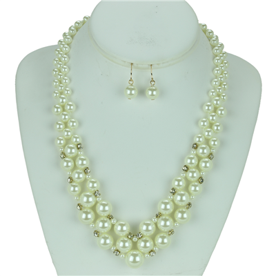 Crystal Pearl Necklace Set | Cream