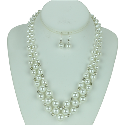 Crystal Pearl Necklace Set | White