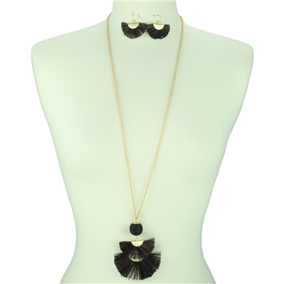 Drop Tassel Necklace Set | Black