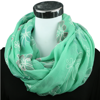 OUTLINED FLOWER INFINITY SCARF | MINT