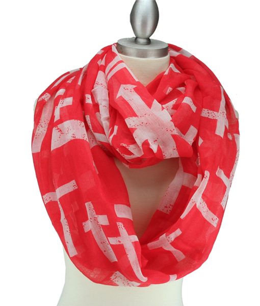 Coral & White Cross Print Infinity Scarf