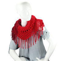 Fashionable Warm & Cozy Gradient Red Tassel Edges Cover-Up Shawl Scarf
