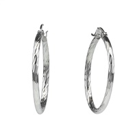 SILVER WAVE CUT HOOP EARRINGS
