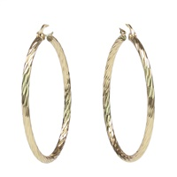 GOLD WAVE CUT HOOP EARRINGS