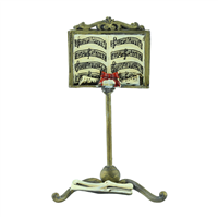 Bronze Color Music Stand with Music Sheet & Red Ribbon Card Holder
