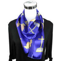 Blue Church Inspired Print Scarf