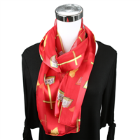 Red Church Inspired Print Scarf