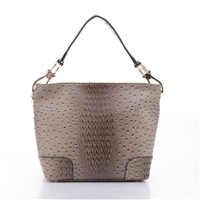 Small On-The-Go Travel Friendly Taupe Faux Ostrich Leather Fashion Satchel