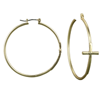 Religion Cross Matte Gold Hoop Earrings with Click-Down Clasp
