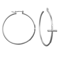 Religion Cross Matte Silver Hoop Earrings with Click-Down Clasp
