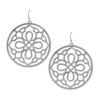 Silver Mandala Circle Earrings