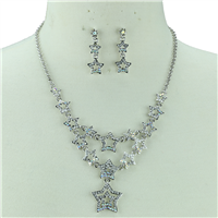 CRYSTAL DOUBLE DROP STAR NECKLACE SET