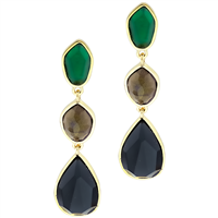 Stylish Attractive Colored Stones Green, Gold & Black Gold Toned Stud Dangle Earrings