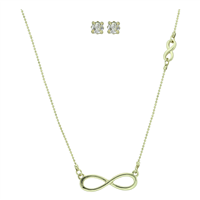 Stylish Fashionable Double Infinity Crystal Stud Earrings Gold Necklace Set