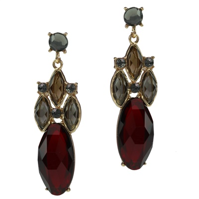 DARK RED OVAL CRYSTAL DROP EARRINGS