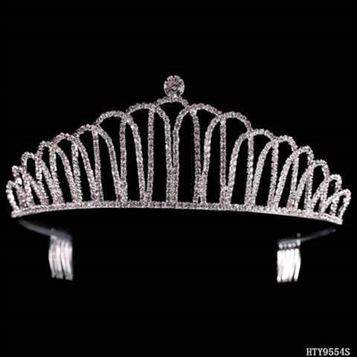 ARCHED CRYSTAL CROWN TIARA | SILVER