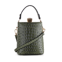 Olive Faux Alligator Skin Capsule Crossbody Handbag