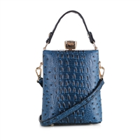 Blue Faux Alligator Skin Capsule Crossbody Handbag