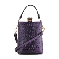 Purple Faux Alligator Skin Capsule Crossbody Handbag