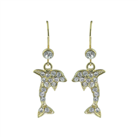 Shimmering Crystal Clear Dolphin Gold Earrings