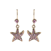 Shimmering Rose Crystal Starfish Rose Gold Earrings
