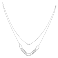 Simple Stylish Beaded Links Rhodium Toned Double Necklace