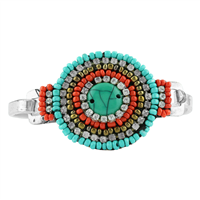 Unique & Stylish Clear Crystals Turquoise, Red-Orange & Gold Beaded Silver Bangle