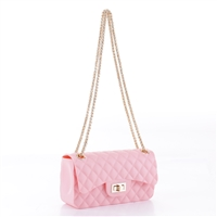 Cute & Gorgeous Pink Faux Rubber Diamond Quilted Crossbody
