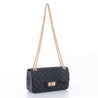 Cute & Gorgeous Black Faux Rubber Diamond Quilted Crossbody