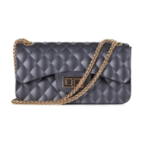Cute & Gorgeous Gray Faux Rubber Diamond Quilted Crossbody