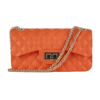 Cute & Gorgeous Orange Faux Rubber Diamond Quilted Crossbody